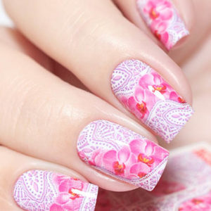 N814 Big Flower Lace Nail Art Stickers Water Transfer Slider Decals Latest