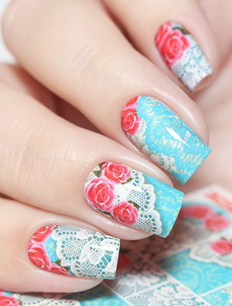 N814 Big Flower Lace Nail Art Stickers Water Transfer Slider Decals