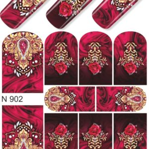 N902 GOLDEN GOLD FOIL Flower Heart Nail Art Stickers Water Transfer Slider Decals Latest 2017