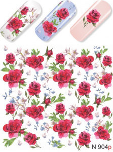 N904 Big Red Rose Flower Lace Nail Art Stickers Water Transfer Slider Decals Latest