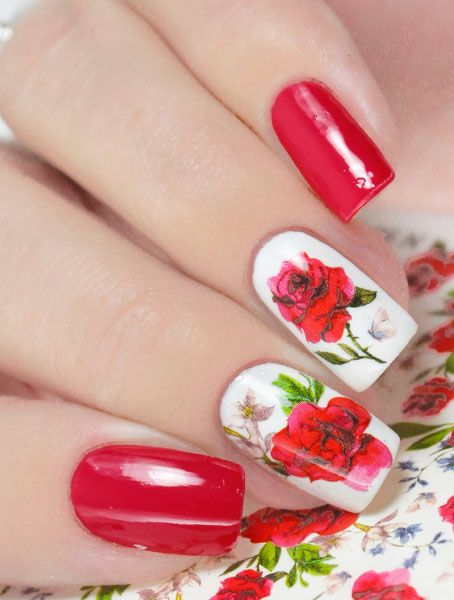 N904 Big Red Rose Flower Lace Nail Art Stickers Water Transfer