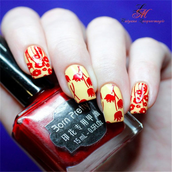 RED Born Pretty 15 ml Stamping Nail Polish Art New Sweet Color Nail Varnish