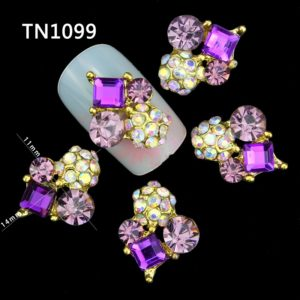 Golden Purple Dangle 3D Rhinestone Alloy Metal Nail Art Accessories T1099