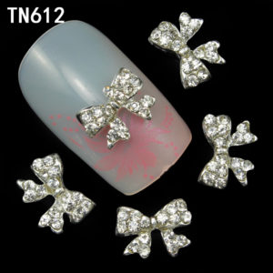 Silver Bow Knot 3D Rhinestone Alloy Metal Nail Art Accessories TN612