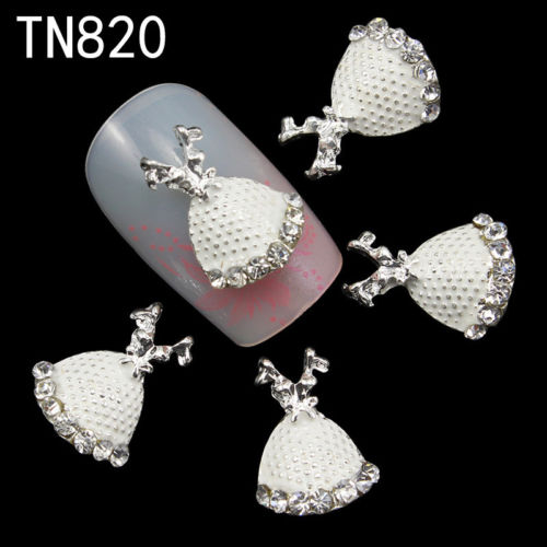 Frock Doll Silver 3D Rhinestone Alloy Metal Nail Art Accessories TN820