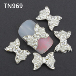 Silver White Pearl 3D Rhinestone Alloy Metal Nail Art Accessories TN969