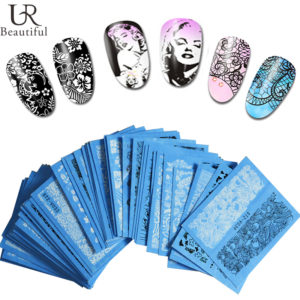 5 PACK WHITE BLACK FULL NAIL WATER MARBLE LACE Transfer Decals stickers Art