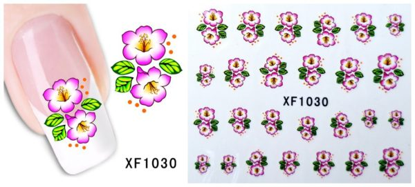 PINK BIG FLOWER Nail Art Stickers Flowers Water Transfer Nail Decals XF1030