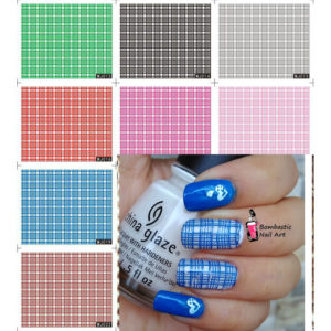 5 Fashion Girl Simple Check Color Full Water Transfer Nail Decals stickers Nail Art
