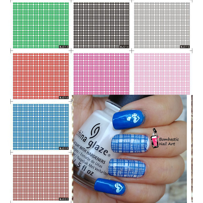 5 Fashion Girl Simple Check Color Full Water Transfer Nail Decals ...