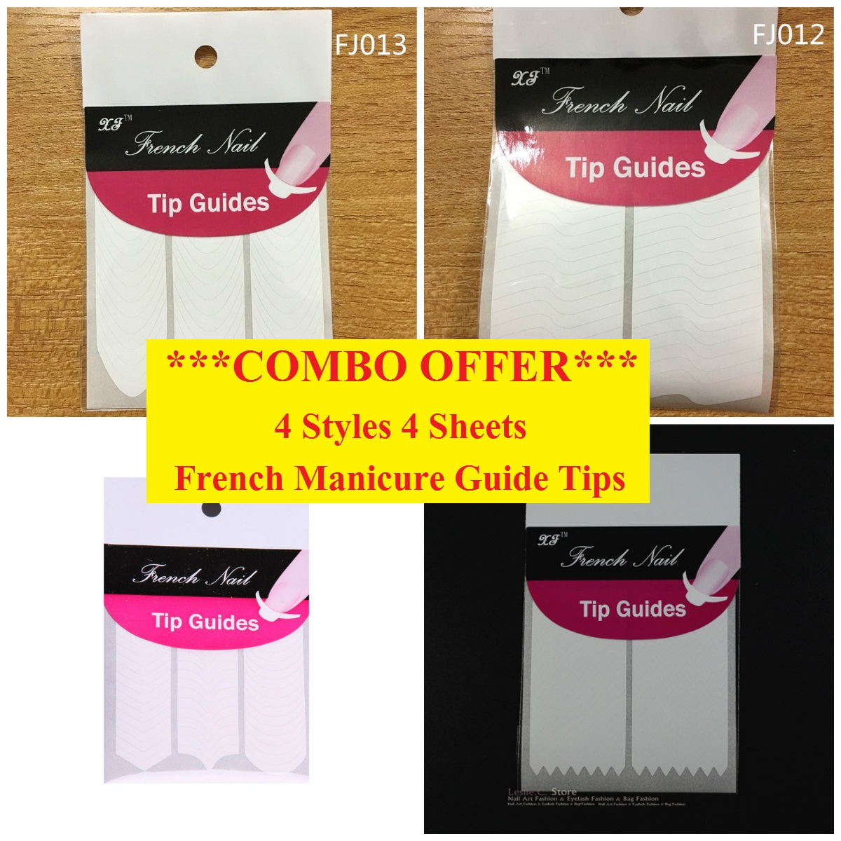 4 V Y C Wave Zig-Zag Nail Art French Manicure Tip Guides Sticker ...
