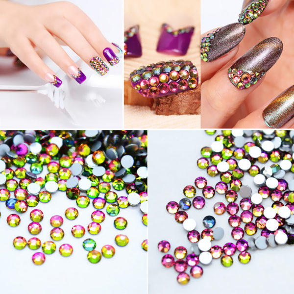 AB Shine Flame Glitter Rhinestones Flat Back 3D Nail Art Accessories Decoration