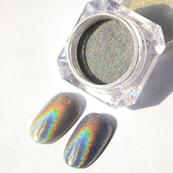 Holographic Laser Rainbow Powder
