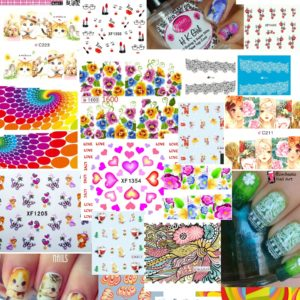 5 PACK FLOWER HEART FULL NAIL WATER MARBLE CHEAT Transfer Decals stickers Art