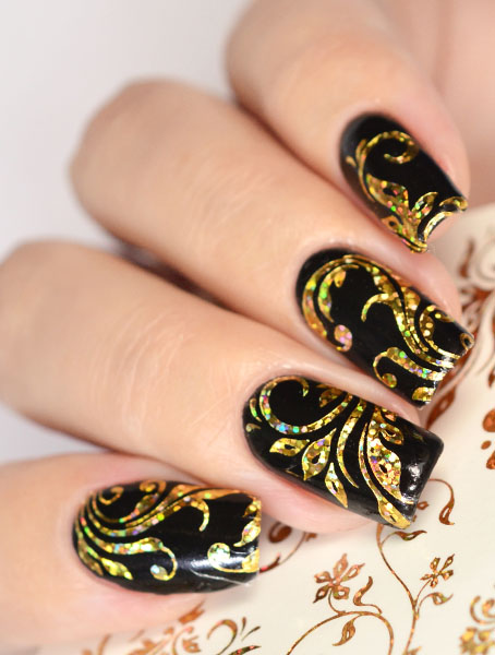 Golden Holographic Holo Nail Art Water Decal Sticker K9 Bombastic