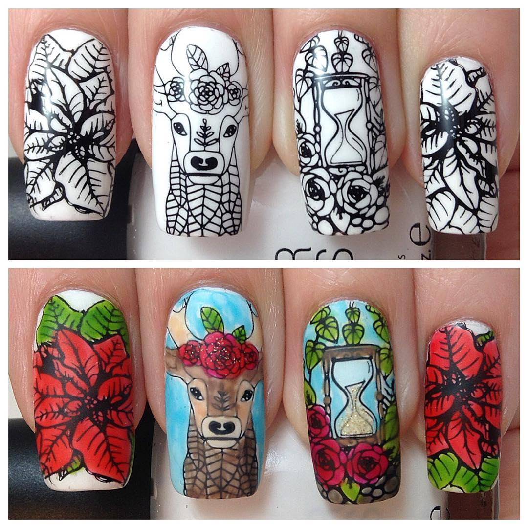 Bundle Monster Square Nail Art Stamping Plate Mystic Woods Set 1