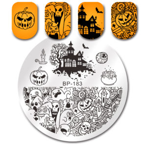 BORN PRETTY Round Stamping Plate Halloween Pumpkin Ghost Castle Manicure Nail Art Image Plate BP-183