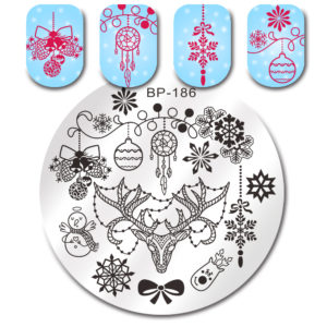 BORN PRETTY Round Stamping Plate Christmas Bell Deer Snowman Manicure Nail Art Image Plate BP-186