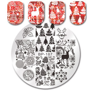 BORN PRETTY Round Stamping Plate Xmas Tree Jingle Bell Deer Manicure Nail Art Image Plate BP-187