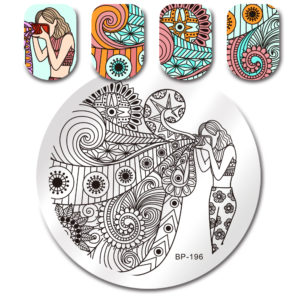 BORN PRETTY Round Stamping Plate Girl Flower Manicure Nail Art Image Plate BP-196