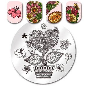 BORN PRETTY Round Stamping Plate Heart Plant Flower Leaf Manicure Nail Art Image Plate BP-197