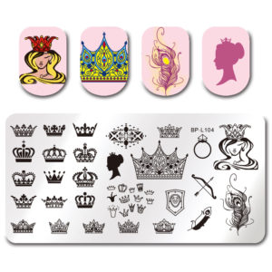 BORN PRETTY Stamping Template Rectangle Crown Queen Feather Manicure Nail Art Image Plate BP-L104