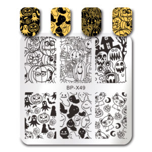 BORN PRETTY Square Stamping Template Halloween Pumpkin Ghost Cat Nail Art Image Plate BP-X49