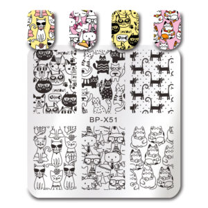 BORN PRETTY Square Stamping Template Cute Cat Crown Bowknot Manicure Nail Art Image Plate BP-X51