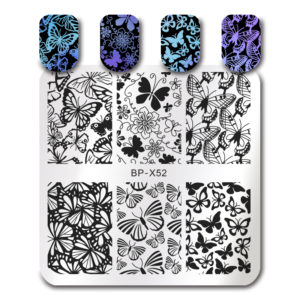 BORN PRETTY Square Stamping Template Butterfly Flower Manicure Nail Art Image Plate BP-X52