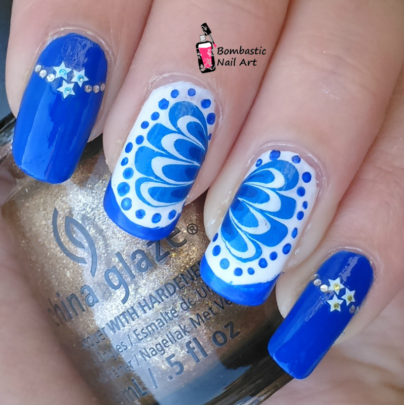 Water Marble Cheat Blue Nail Art Water Transfer Slide Decal Sticker ...