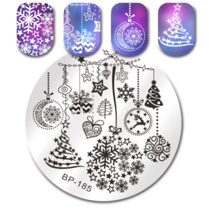 BORN PRETTY Round Stamping Plate Christmas Tree Snowflake Bell Manicure Nail Art Image Plate BP-185