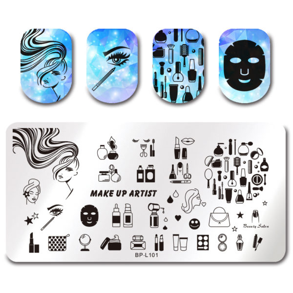BORN PRETTY Stamping Template Rectangle Makeup Facemask Lipstick Nail Art Image Plate BP-L101