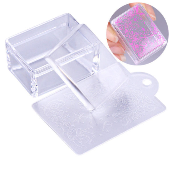 Clear Rectangle Silicone Jelly Nail Stamper with Scraper Stamping Tool Manicure