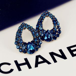 Fashion Blue Waterdrop Rhinestone Crystal Ear Drops Earrings Vintage Jewelry
