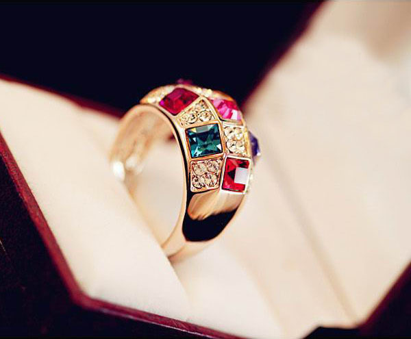 European Style Luxury Crystal Gold Colorful Classic Ring Fashion Jewelry
