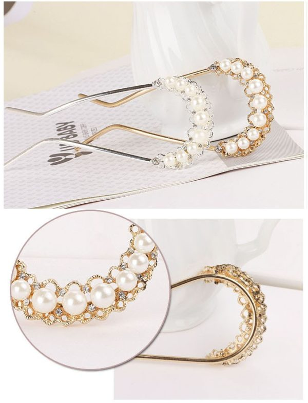 White Crystal Rhinestone Bead Pearl Gold Hair Pin Stick Crystal Hair Accessories