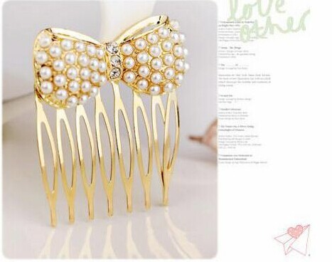 Simulation Pearl Bow Insert Comb Gold Hair Pin Crystal Hair Accessories