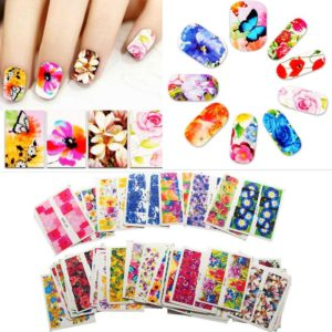 10 PACK FLOWER HEART NAIL WATER MARBLE CHEAT Transfer Decals stickers Art