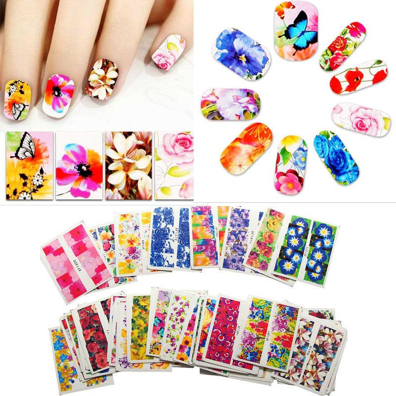 10 Pack Full Flower Heart Butterfly Nail Water Transfer Decals