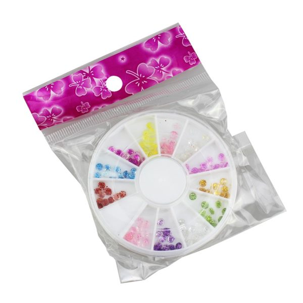 Colorful Round 3D Nail Art Rhinestones Acrylic Glitter Decoration Manicure Wheel