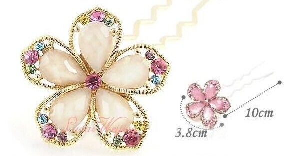 Colorful Flower Hair Pin Stick Crystal Hair Accessories