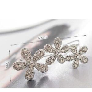 Korean Style Flower Silver Hair Pin Side Clip Crystal Hair Accessories