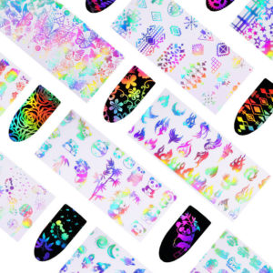5 LASER Holographic Nail Art Transfer Foil Sticker Silver Designs DIY Decals Mix