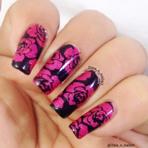 NICOLE DIARY Nail Art Negative Space Stamping Image Plates Flowers Pattern ND014