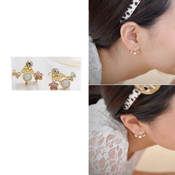 Fashion Imitation Colorful Rhinestone Butterfly Flower Earrings Vintage Jewelry