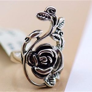 `Vintage Retro Rose Silver Ring Fashion Jewelry