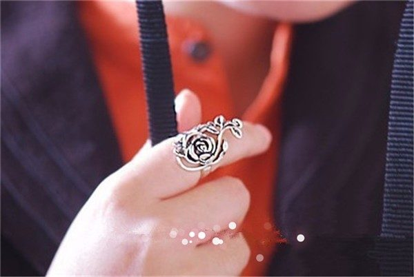 Vintage Retro Rose Silver Ring Fashion Jewelry
