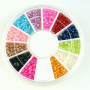 Colorful Pearl Nail Art Stone Different Flat Back Wheel Rhinestones Beads