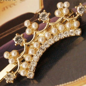 1 Pc Women's Fashion Rhinestone Crown Crystal Pearl HairClip Hair Pins for Girl