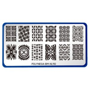 Bundle Monster XL Rectangular Nail Stamping Plate Polynesia: Local Kine Art (BM-XL110)